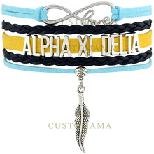 Custom- Infinity Love Alpha Xi Delta Feather Charm Women's Wrap Bracelet Light Blue Navy Gold Suede Leather Custom Themes(China)