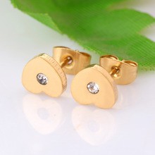 Women High Quality Stainless Steel Earrings Jewelry Gold Color Heart Crytal Stud Earrings Fashion For Women Jewelry