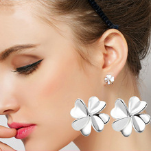 Fashion Hot Luxury Women stud Earrings heart Lucky Clover earring for women Accessories Silver plated jewelry wholesale(China)
