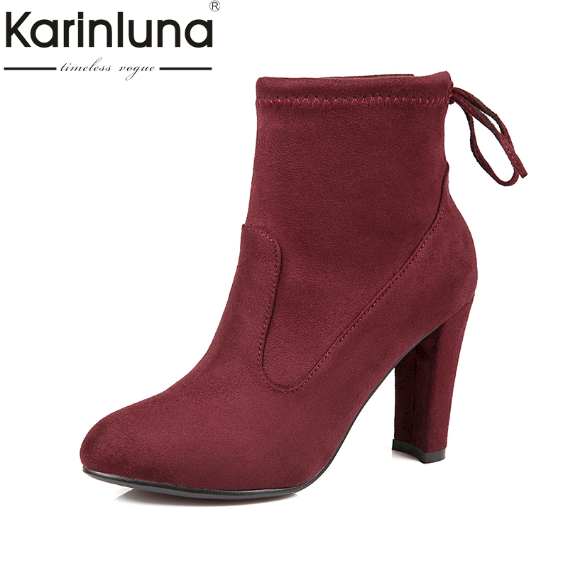KARINLUNA 2017 Customize Big Size 34-43 Spike High Heels Ankle Boots Fashion Slip On Party Woman Shoes Women Chelsea Boots<br>