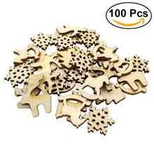 100pcs 2CM Natural Wooden Christmas Series Slice Scrapbooking Embellishments DIY Craft Decor(China)