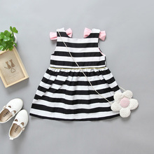 Summer White And Black Stripe Kids Girl Dress 2017 Baby Girl Party Dress Children Frocks Designs Backless Dress Patterns