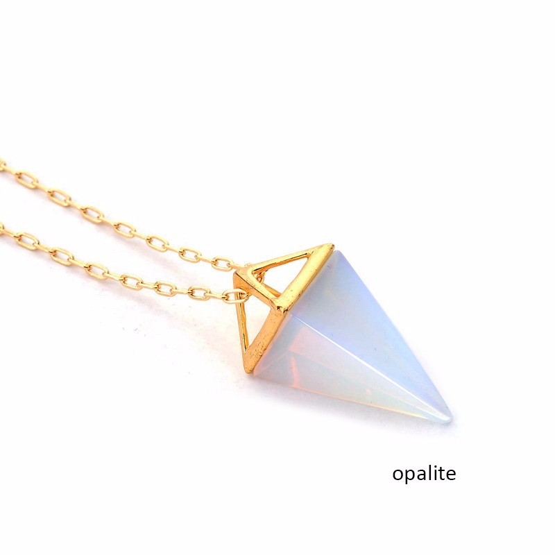 Wholesale 5pcs\lot Opalite Pyramid Necklace Fashion White Blue Crystal Quartz Gold Layer Necklaces Jewelry Gift