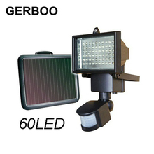 GERBOO LED Solar Light Outdoor Garden Path Wall Spotlights PIR Motion Sensor 60 LED Security Street Light