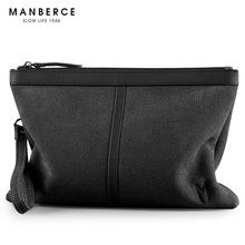 MANBERCE NEW STYLE Fashion Trend Real Leather Men's Purse Large Capacity Casual Men Grab Bag Multi-purpose Handbag(China)
