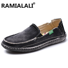 Ramialali Brand Mens Breathable High Quality Casual Shoes Jeans Canvas Casual Shoes Slip On men Fashion Flats Loafer