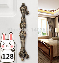 Length 165mm Hole Pitch  128mm antique brass color zinc alloy furniture cabinet drawer antique handle