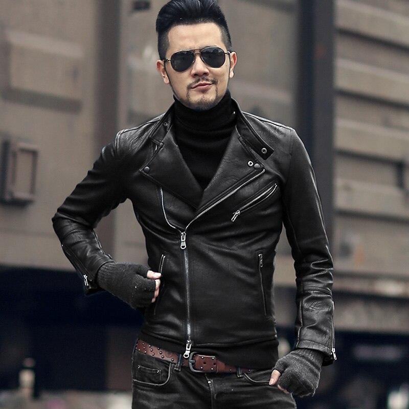WNSY Men Slim Fit Solid Lapel Faux Leather Trench Coat Belt Jaclet