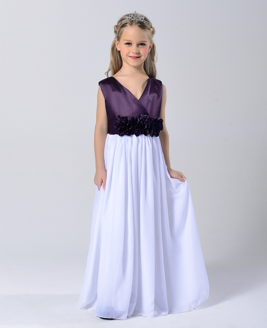 Fashion white and purple bowed chiffon applique wrap summer maxi dress kids clothing party dresses for 14 year olds formal<br><br>Aliexpress