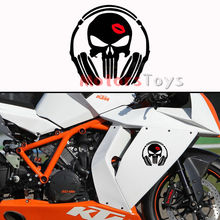 1PC JDM Headset Headphone Skull Flaming Lips Vinyl Motorcycle Car Sticker Decal