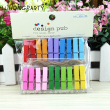 20PCS Colorful Rainbow Wooden Clothespin Office Supplies photo Craft Clips DIY Clothes Paper Peg Clothespin Party Decoration(China)
