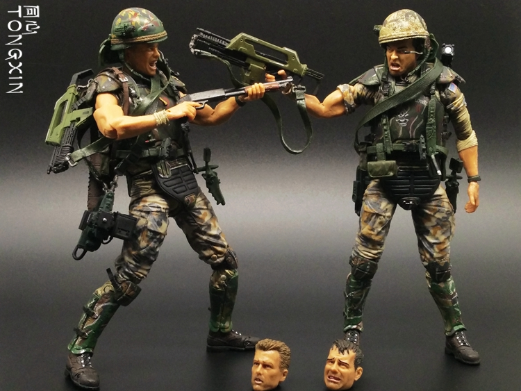 7 Inch Alien War Jagged Warrior Mercenaries Soldiers Soldiers Weapons Moving Doll Model NECA Toys T69<br>
