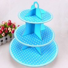 1pcs\lot Kids Favors 3 Tier Cake Stand Blue Polka Dots Birthday Party Cupcake Holder Decoration Cardboard Baby Shower Supplies