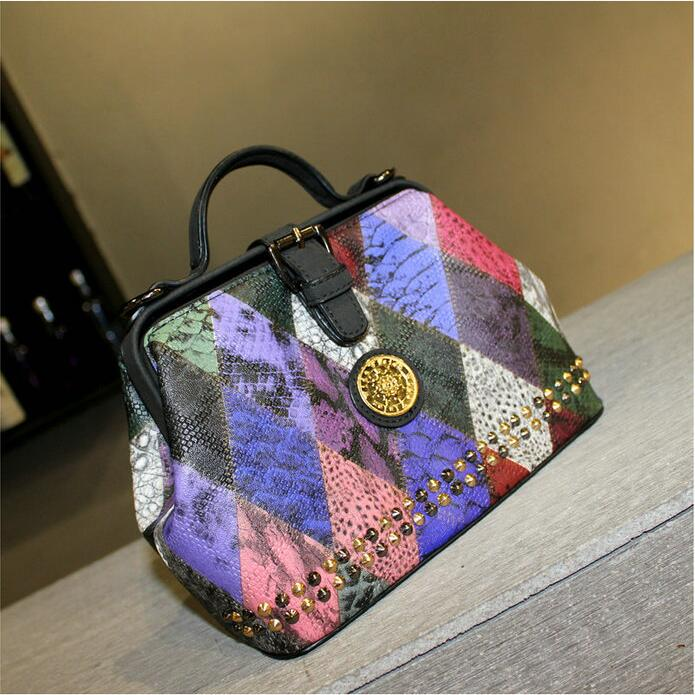 Free shipping Japanese and Korean fashion Color Lingge rivet Mini Mixed colors Shoulder Messenger handbag<br><br>Aliexpress