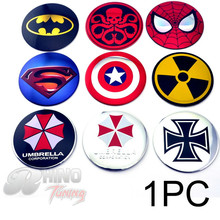 1PC 56mm Superman Umbrella Corporation Auto Wheel Center Badge 60mm Batman Cross For Palio Onix KA Strada Sandero Uno