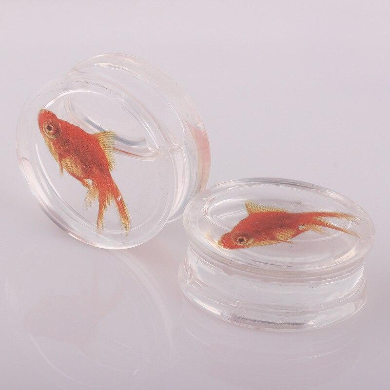 Transparent Gold Fish Ear Gauges Flesh Tunnels Double Flare Gauges Saddl Home