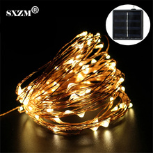 SXZM Solar LED string light 15M 150Leds Copper Wire waterproof Fairy Light Xmas Wedding Party Garden outdoor Decoration