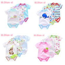 3 piece / batch 2017 new baby boy made animal style short sleeve cotton baby clothing overall newborn baby