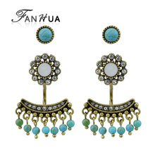 FANHUA Vintage Style Ear Jacket Antique Gold Color with Rhinestone and Blue Stone Flower Tassel Stud Earrings For Women(China)