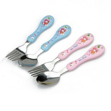 High Quality 2pcs/set Lovely Bear Print Baby Kids Feeding Spoon + Fork Stainless steel Baby Spoon Flatware Blue Pink