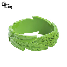 GuanLong Resin Carved Floral Plant Leaf Bangles Fashion Brand Design Bracelet Puseira Jewelry Wholesale(China)