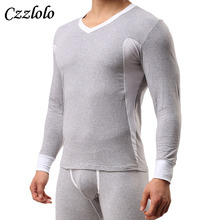 Czzlolo 2 pieces Underwear Cotton Men Thermal Underwear Long Johns V-Neck Collar Men's Warm Underwear Suit Men Long Johns Set(China)
