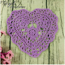 Valentine's Day Gift Handmade Crochet DIY Placemat Heart Decor Coaster Clothes Accessory 18*16CM Table Doily Wedding Prop 20pcs/