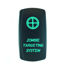 High Quality 5Pin Laser Backlit Green Rocker Toggle Switch ZOMBIE TARGETING SYSTEM 20A 12V On/off LED Light Wholesale [KG-036-3]