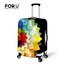 FORUDESIGNS Luggage Protector Cover 3D Flower Stretch Elastic 18-30 Inch Rain Dust Suitcase Cover with Zipper Travel Accessories(China)