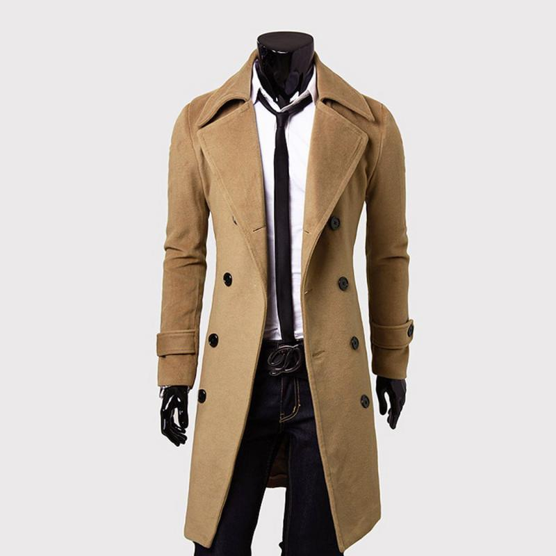 Wholesale 40 Cool Men Double Breasted Overcoat Outwear Trench Beauteous Mens Trench Coat Pattern