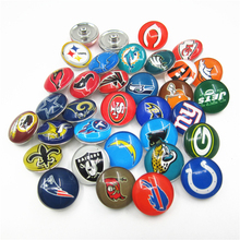 Mix 64pcs/lot NFL Team Sports Snap Buttons 18mm Football Sports Ginger Snaps Bracelets&Bangles DIY Jewelry(32 team per 2pcs)