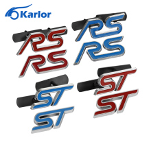 Blue Red Chrome Metal S RS ST Car Grille Styling Emblem Badge 3D Car Sticker Refitting Decal for FORD Focus Mondeo Accessories