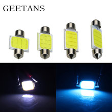 10pcs Car Bulbs 31mm 36mm 39mm 42mm Dome Festoon COB Led 12v Smd Interior Reading License plate Lights Source White/Ice blue BJ