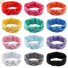 1PC Gilrs Headbands Soft Cross Knot Hair Band Turban Knot Twisted Headband Kids Solid Headwrap Girls Headwear Hair Accessories