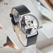 FD Fashion mickey mouse Pattern Women Watch Leather Strap Quartz Watches Women Clock 2017 Hot Casual Wristwatch relogio feminino(China)