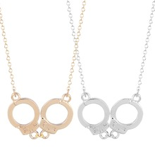 QIAMNI 10pcs/lot Wholesale Unique Sweet Handcuffs Pendant Necklace Women Couple Jewelry Valentine's Day Gift