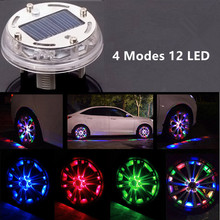 4 Modes 12 LED Stunning Waterproof Solar Car Tuning Aas Nozzle Cap Lamp Rim Light Wind Fire Wheels Led Flash Lamp Tyre Light(China)