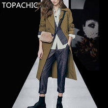 4 piece clothing set long tench coat+striped blouse+Sweater + pants winter and autumn women top quality clothing(China)