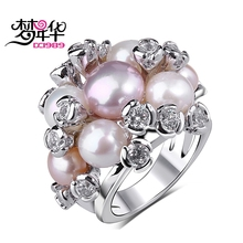 Dreamcarnival1989 Rings for Women Deluxe Fresh Water Pearl CZ Jewelry Rhodium Gold Color Perla anillos mujer Wedding Bijoux Anel
