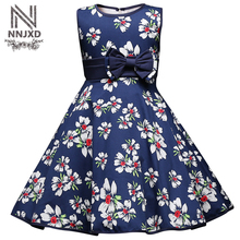 Fancy Rustic Floral Wedding Dress Little Baby Girls Party Dresses Summer Toddler Children Clothing Kids Clothes Blue Prom Dress