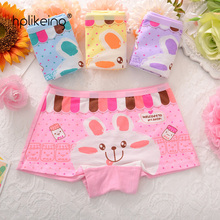 4pcs/lot lovely baby girls boxer colorful rabiit soft brief cotton Child's underwear For Girls Shorts Children's panties 2-10T(China)
