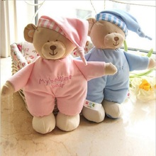 1 Pc 30cm Kids Lovely Soft Blue Pink Sleeping Bear Doll Toy Children Cartoon Plush Stuffed Doll Toys Appease Baby For Children