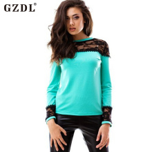 GZDL Hot Sale New Style Spring Autumn Patch Work shirt Long Sleeves Lace Women Elegant Tops Slim Solid Fashion Blouse CL2410(China)