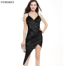 2017 New Summer Woman's Swan Fashion Gold Velvet V-Neck Cross Irregular Sling Strap Sexy Club Dress Party Pack Hip Dresses S300
