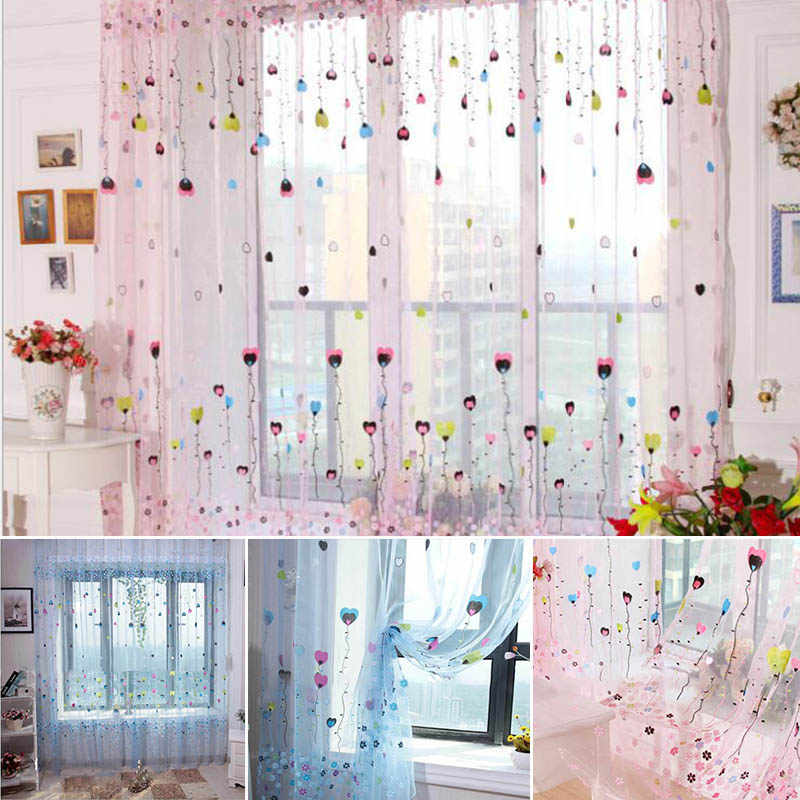 Cartoon Balloon Floral Tulle Window Curtain Living Room Use Pink/Blue Curtains For Children Girls Bedroom Study Room Home Decor