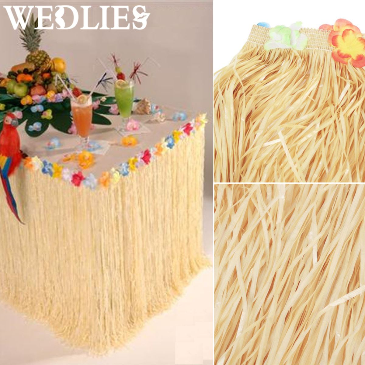 Plastic Hawaiian Luau Party Table Skirt Coloful Flower Grass Garden Beach Party Table Skirts Party Events Decoration Supplies(China)