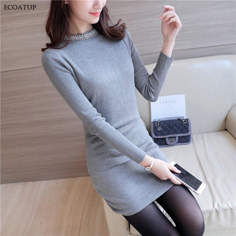 Длинный свитер женский осень-зима модные Бисер с круглым вырезом с длинным рукавом черный серый вязаный джемпер Для женщин Свитеры для женщин и Пуловеры для женщин