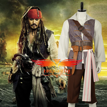 HOT Movie Pirates of the Caribbean Jack Sparrow Shirt Vest Pants Belts Cosplay Costume Adult Men Outfit /Black Cotton Sliver Wig(China)