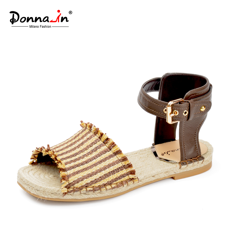 DONNA-IN women sandals natural rope outsole genuine leather flat sandals fashion weave material ladies shoes<br>