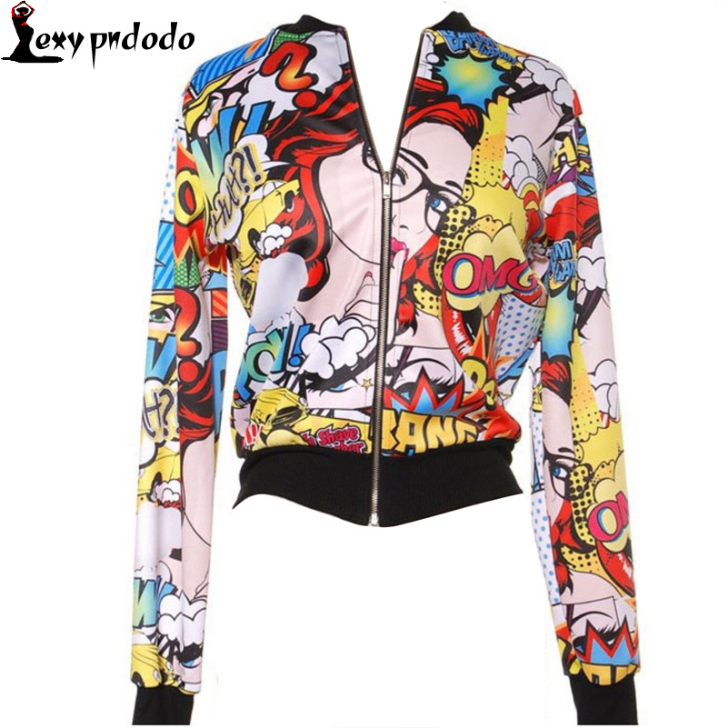 Fall Women Basic Coats Jacket Tops Cartoon Prited Floral Bomber Jackets Coats Clothing Chaquetas Mujer tweed jackets for women
